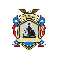 texas battleship emblem retro vector image