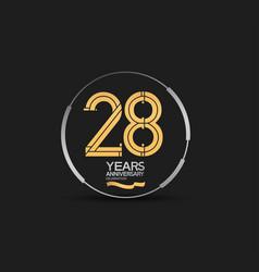 28 years golden anniversary logotype golden vector