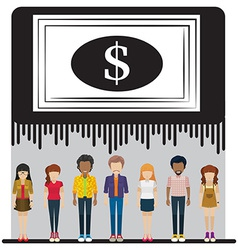 A big dollar check above the group of people vector