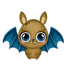 a cute cartoon brown bat with blue wings vector image