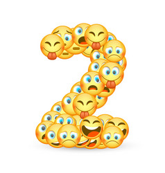 A set emoticons shaped as two number vector