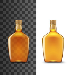 alcohol drink glass bottle realistic whiskey vector image