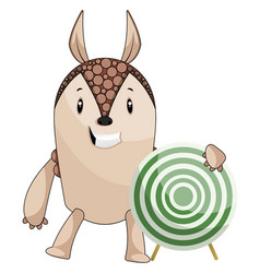 armadillo with target on white background vector image