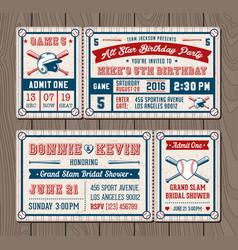 baseball event invites vector image