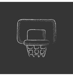 Basketball hoop Drawn in chalk icon vector image