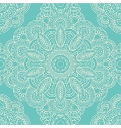 Blue lace boho doodle seamless pattern vector