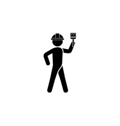 builder in a helmet with a brush the builder icon vector image