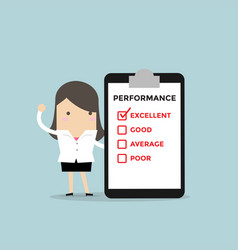 businesswoman with performance check list vector image