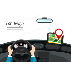 car interior with hands on steering wheel and red vector image