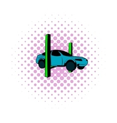Car on lift comics icon vector