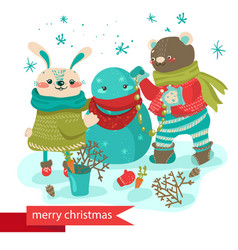 cartoon rabbit and bear making snowman vector image