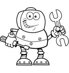 Cartoon robot holding tools vector