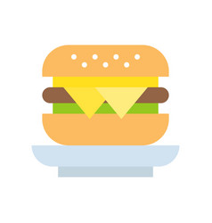 cheese burger food and gastronomy set flat icon vector image