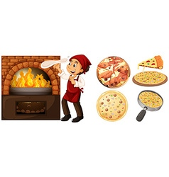 Chef making pizza at hot stove vector