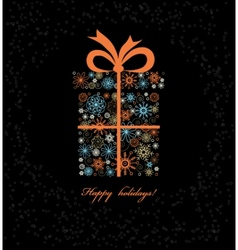 Christmas gift boxe from colored snowflakes vector