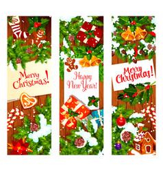 Christmas wreath banner on wooden background vector