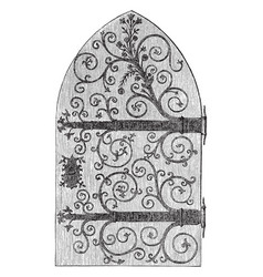 church door work vintage engraving vector image