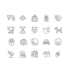 circus line icons signs set outline vector image