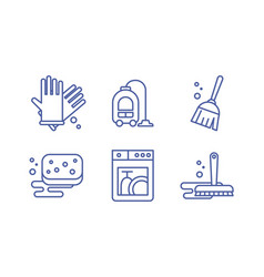 cleaning and housekeeping icons set washing vector image