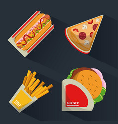 colorful background with fast foods burguer and vector image