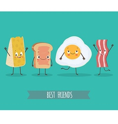 Cute characters chees bread egg and bacon vector