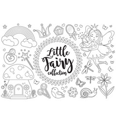 cute little fairy set coloring book page for kids vector image