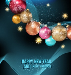 Dark blue background with a magic Christmas balls vector