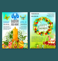 Easter egg hunt invitation flyer template vector