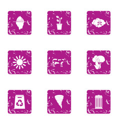 Energy recirculation icons set grunge style vector