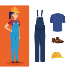 female builder with equipment vector image