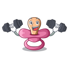 fitness character childrens pacifiers for the vector image