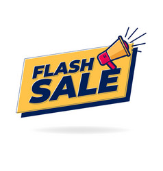 flash sale banner with loudspeaker or megaphone vector image