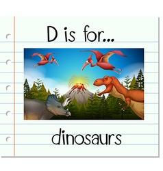 Flashcard letter D is for dinosaurs vector