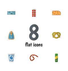 flat icon eating set of canned chicken cookie vector image