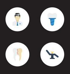 Flat icons treatment implantation orthodontist vector