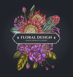 Floral bouquet dark design with african daisies vector