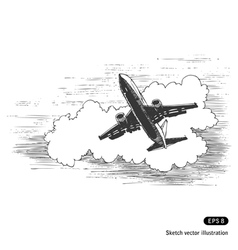Flying plane against a cloud vector