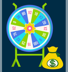 fortune wheel gambling game spinning slots segment vector image