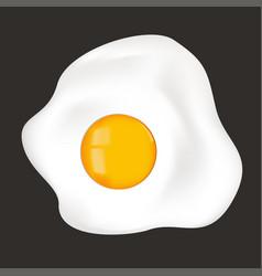 Fried egg sunny side up on black background vector