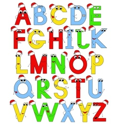 funny latin alphabet in santa caps vector image