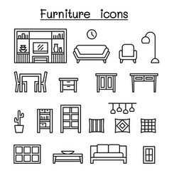 furniture home decorate items icon set in thin vector image
