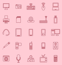 Gadget line icons on pink background vector image