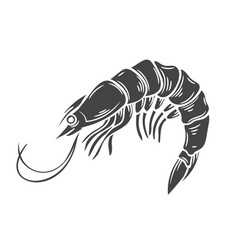 Glyph shrimp icon vector