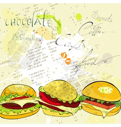Hamburgers on stylized background vector