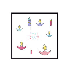 happy diwali text design vector image