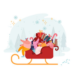 happy male and female characters riding santa vector image