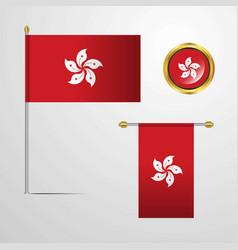 Hongkong waving flag design with badge vector