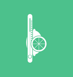 Icon thermometer with lemon vector