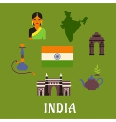 India culture and travel concept vector image vector image
