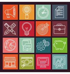 internet marketing icons in flat outline style vector image